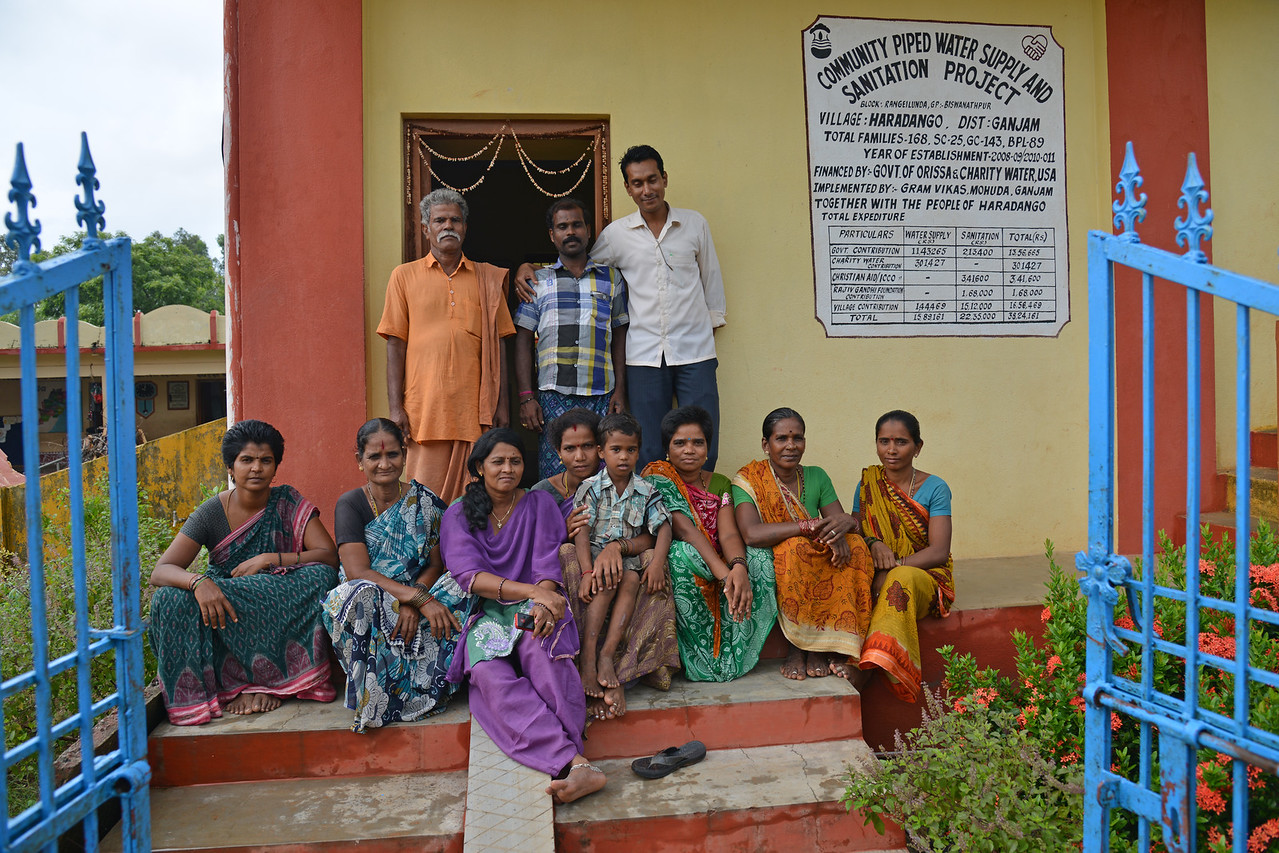 Staff of Gram Vikas and villagers at the Community Piped Water Supply and Sanitation Project at village Haradango in District Ganjam by Gram Vikas, Mohuda, Ganjam. Through its direct outreach programmes Gram Vikas works in 943 villages across 23 districts covering 59,132 families of which 39% are adivasis, 14% are dalits and the remainder are from general castes, mostly poor and marginal farmers.
