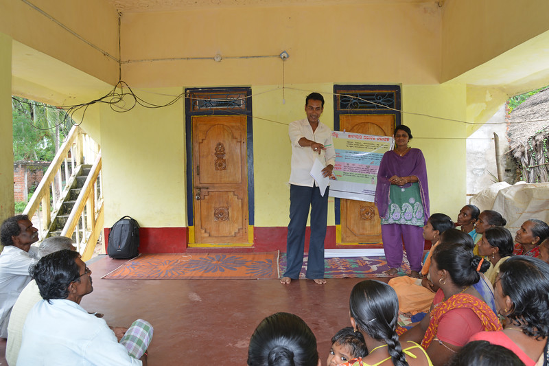 Manas and Jashoda from Gram Vikas conducting a community educational programme at Jaleripentho village. Villagers are taught about nutrition, hygiene and diet. <br /> <br /> Gram Vikas' founders came to Orissa in the early 1970s as student volunteers to serve victims of a devastating cyclone. Their extensive activism and relief work motivated them to form Gram Vikas, which was registered on January 22, 1979, and currently serves more than 3,89,333 people in 1196 habitations of 25 districts in Odisha.