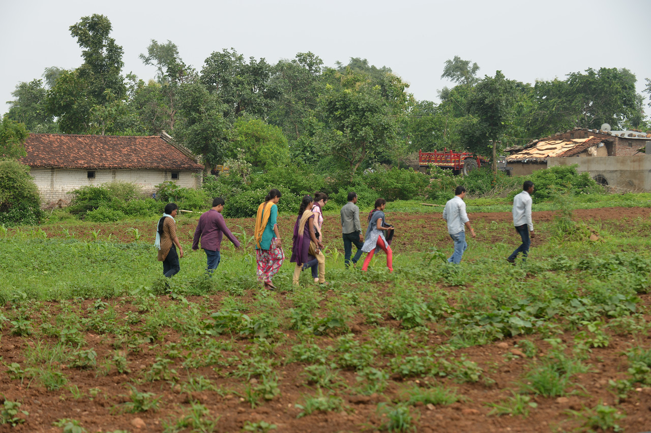 After the village meeting, the villagers walk to show the kitchen garden set up by Jan Sahas at Bedaniya.<br /> <br /> Jan Sahas is a social and community based organization that is committed to protection of <br /> human rights and development of socially excluded communities through abolishing the all <br /> kind of slavery, social exclusion, atrocities and all forms of discrimination based on <br /> caste, class and gender.