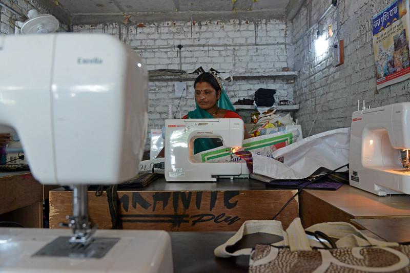 Garment Unit set up with training and financial support from Jan Sahas to liberated manual scavenger women for their rehabilitation and livelihood. Bags, cloth folders, children dress and other items are stitched here and sold.<br /> <br /> Jan Sahas is a social and community based organization that is committed to protection of <br /> human rights and development of socially excluded communities through abolishing the all <br /> kind of slavery, social exclusion, atrocities and all forms of discrimination based on <br /> caste, class and gender.