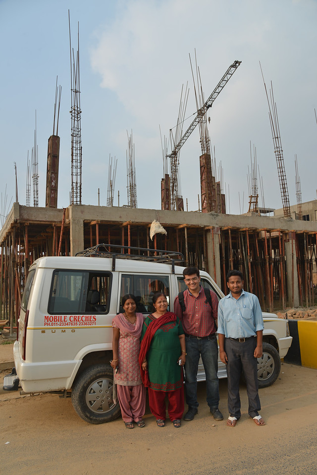 Mobile Creches team at Vatika-83, Gurgaon, Delhi NCR.<br /> <br /> <br /> <br /> Mobile Creches works with birth to 12 year old children living on the construction sites and slums of Delhi(NCR) since 1969. Integrated Daycare Centers for children on construction sites are run. Mobile Creches has so far reached out to 7,50,000 children, trained 6,500 women as childcare workers, run 650 daycare centres and partnered with 200 builders.<br /> <br /> Mobile Creches runs daycares centres where children are provided education, nutrition and healthcare. Community-women and NGOs are trained to provide care and speak-up for the child. The years of experience along with strong-networks helps in the advocacy for policy-change.