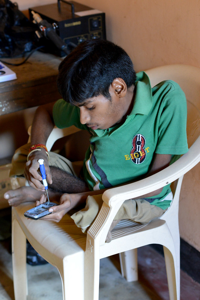 Under the SWABAL (Skill Development Training Programs) of Nav Bharat Jagriti Kendra (NBJK) this young man learnt to repair mobile phones and now earns a daily livelihood from it.<br /> <br /> Nav Bharat Jagriti Kendra (NBJK) was established in 1971 by four engineering graduates who <br /> were sensitive to the causes of disparity, exploitation and poverty with an aim to <br /> establish a just society. Today they are the leading non-profit organization in Jharkhand <br /> running educational institution and health facilities.