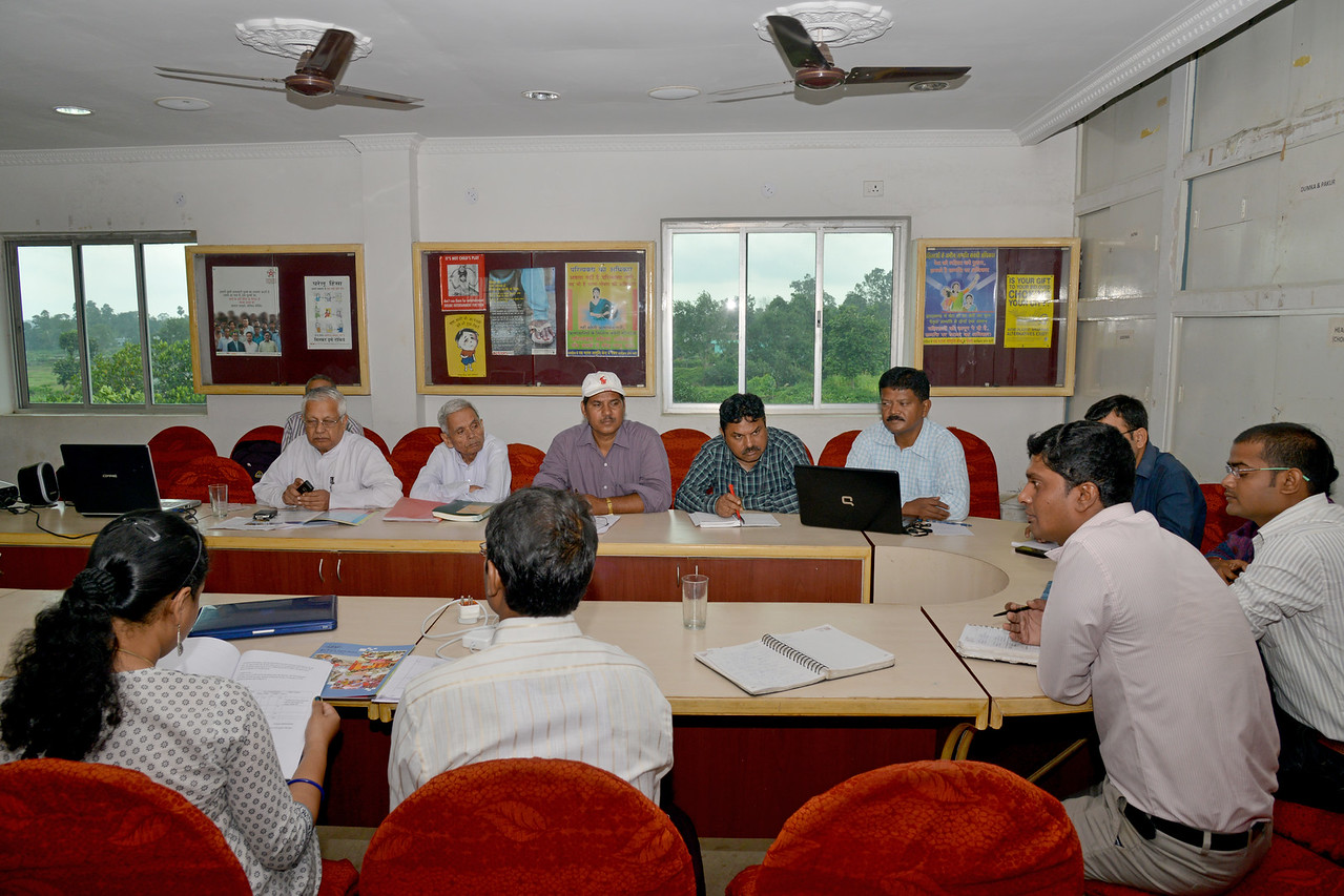 Meeting of programme managers and governance body of Nav Bharat Jagriti Kendra (NBJK) at their office.<br /> <br /> Nav Bharat Jagriti Kendra (NBJK) was established in 1971 by four engineering graduates who <br /> were sensitive to the causes of disparity, exploitation and poverty with an aim to <br /> establish a just society. Today they are the leading non-profit organization in Jharkhand <br /> running educational institution and health facilities.