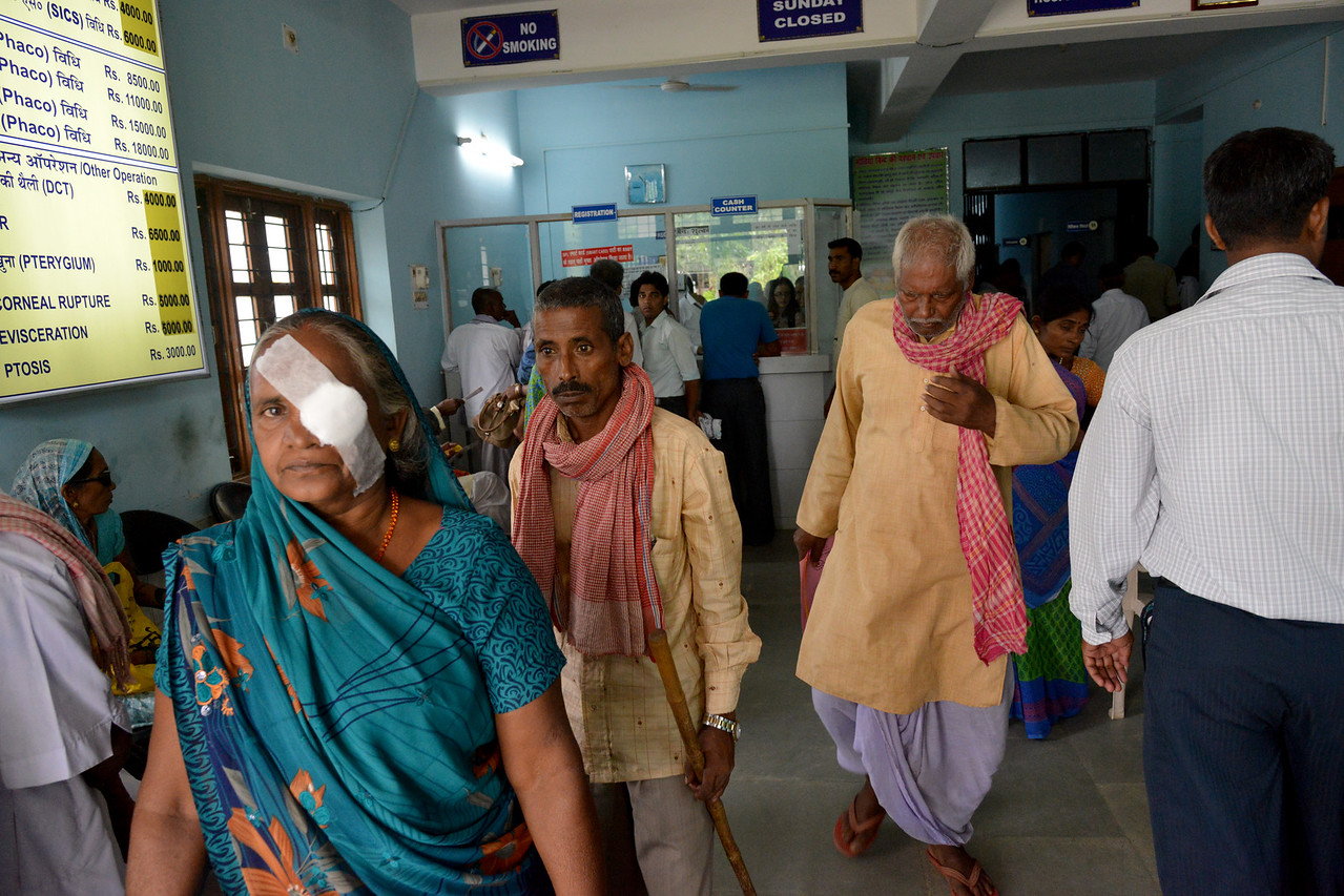Stream of people from even distant villages come for diagnosed, medicines and treatment at the Nav Bharat Jagriti Kendra (NBJK) Lok Nayak Jai Prakash Eye Hospital.<br /> <br /> Nav Bharat Jagriti Kendra (NBJK) was established in 1971 by four engineering graduates who <br /> were sensitive to the causes of disparity, exploitation and poverty with an aim to <br /> establish a just society. Today they are the leading non-profit organization in Jharkhand <br /> running educational institution and health facilities.