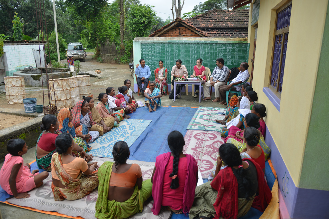 SHG (Self Help Group) discussing women's sexual reproductive health as part of Reach India's Session-7 covering risk factors in early pregnancy at Kothlo, Litipada Block.<br /> <br /> Reach India believe that health, hope and dignity are three basic rights for every woman and every family. Even more critical for those living in extreme poverty.<br /> <br /> Reach India's network of local service centres train thousands of local organisations, which in turn train millions of women and girls in self-help and other community groups. Reach's interactive training provides vital information on health, livelihoods and family finance to women and adolescent girls as part of their regular group meetings. By supporting self-help groups and the many organisations that serve them, Reach empowers women and girls to make positive changes in their lives, families, and communities.