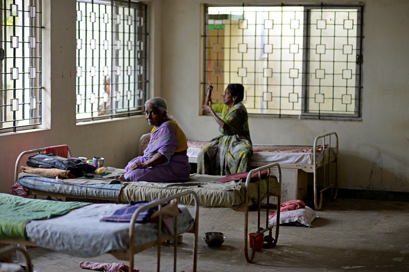 Inside the hall & sleeping area of the medical centre and old people home at the village. <br /> Rising Star Outreach of India, Kancheepuram District, Tamil Nadu, India