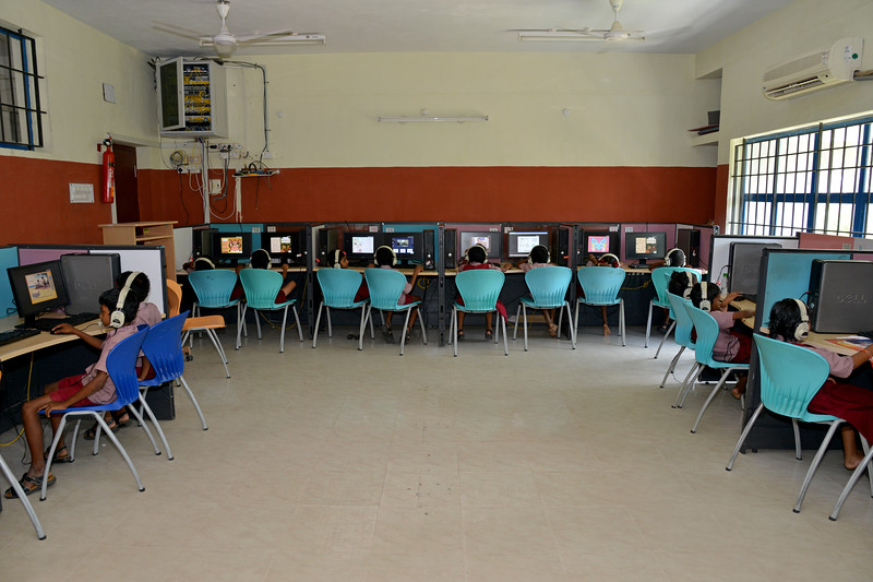 Computer lab.<br /> Rising Star Outreach of India, Kancheepuram District, Tamil Nadu, India