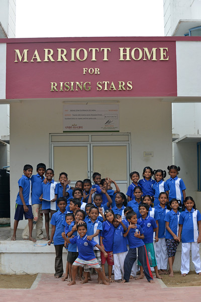 Evening play time outside the dorm (Marriot Home).<br /> Rising Star Outreach of India, Kancheepuram District, Tamil Nadu, India