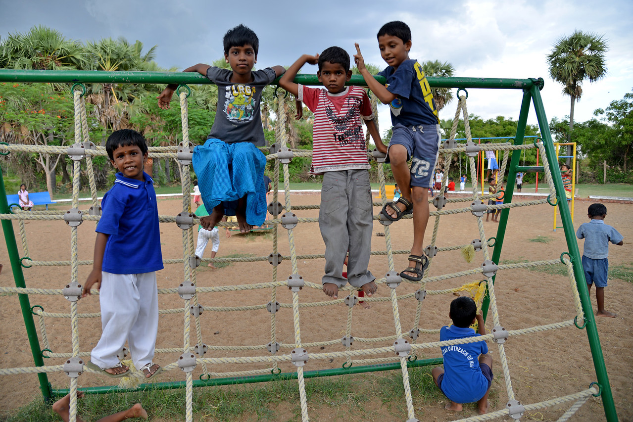 Evening playtime.<br /> Rising Star Outreach of India, Kancheepuram District, Tamil Nadu, India