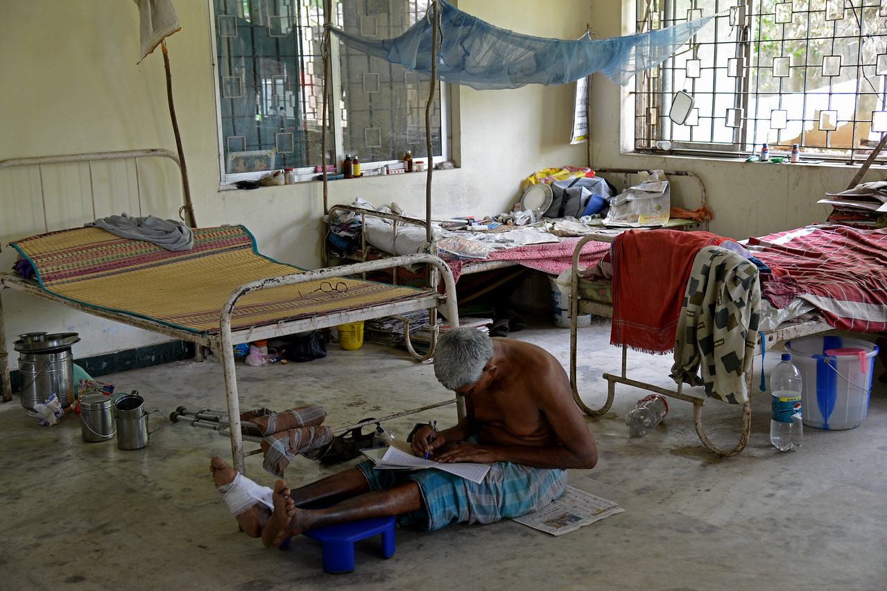 Inside the medical centre and old people home at the village. <br /> Rising Star Outreach of India, Kancheepuram District, Tamil Nadu, India