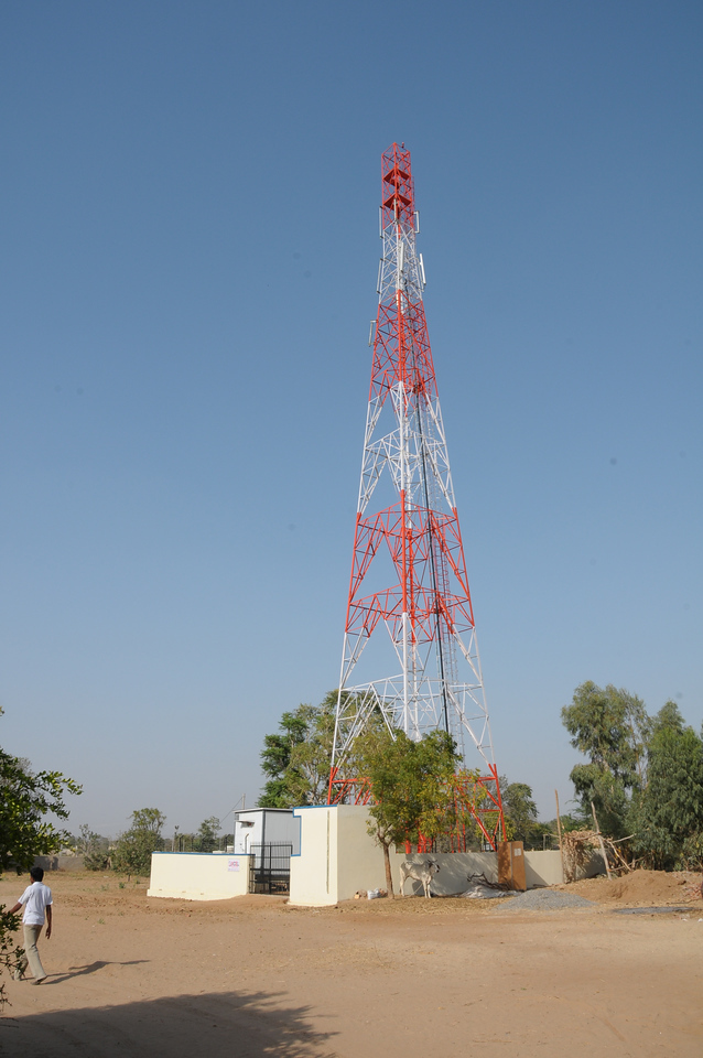 Mobile phone use in Pushkar: Mobile phone tower in Pushkar, Rajasthan, India.