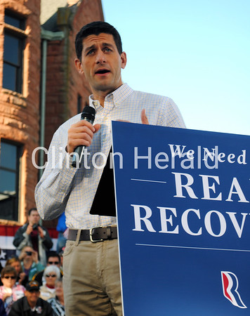 Republican Vice Presidential nominee Paul Ryan speaks to a crowd at the Clinton County Courthouse on Tuesday during a campaign stop. - Katie Dahlstrom/Clinton Herald