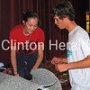 Fulton High School students Krista Temple and Kyle Wiebenga on Wednesday work on the the haunted house. - Katie Dahlstrom/Clinton Herald
