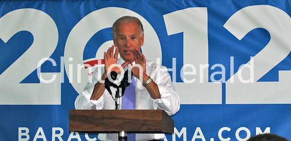 More than 200 supporters attended a grassroots event featuring Vice President Joe Biden on June 27 at the Clinton Firefighter's Association Local 609 Hall. • Katie Dahlstrom/Clinton Herald