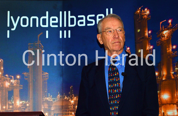 U.S. Sen. Charles Grassley held a town hall meeting with community leaders, elected officials and 100 LyondellBasell employees at the LyondellBasell facility in Clinton on May 29. • Katie Dahlstrom/Clinton Herald