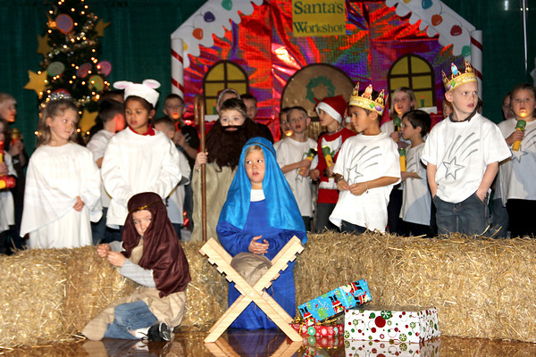 St. Anthony students entertained a gynasium packed full of family and friends recently with a Crazy Christmas program. Kindergarteners Mary Louise Dietzen and Zane Barnes sat by baby Jesus while the rest of their grade sang Silent Night during one of the many skits.