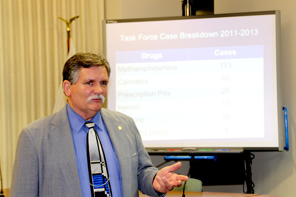 Duane Guffey, Effingham County Coroner, spoke at a Community Forum at Effingham City Hall Wednesday night about the rise of heroin use in the Effingham area.
