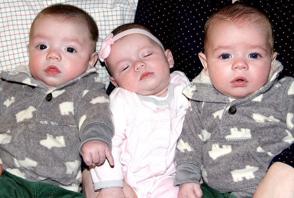 Triplets were born on Labor Day to Jennifer and Scott Sporleder of Farina. Jennifer graduated from Effingham High School in 2005. From left are Leighton, Lillian and Tanner.