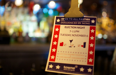 110312, Boston, MA - Towne Stove and Spirits on Boylston Street is gearing up for an election night party with election inspired cocktails and complimentary hors d'oeuvres. Herald photo by Ryan Hutton