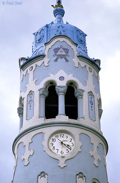 "[SLOVAKIA.WEST 03555]  'Art nouveau St. Elisabeth church in Bratislava.'  The tower of the St. Elisabeth church in Bratislava, nicknamed the ""blue church"", shows an original interpretation of art nouvau. It was built 1909 - 1913. Photo Paul Smit."