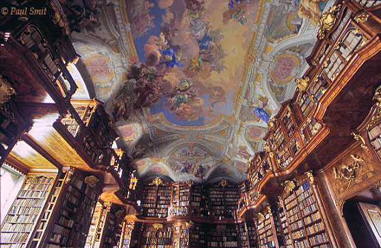 [AUSTRIA.OBER 04239] 'Library of Stift St. Florian.'  The monks of the Augustine St. Florian monastery do not belong to a mendicant order; it's wealth whereever you look, like in this sumptuous baroque library. Photo Paul Smit.