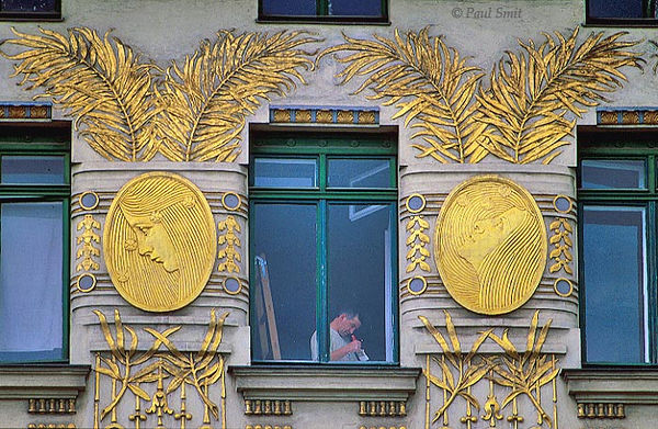 [AUSTRIA.WIEN 04288] 'Art Nouveau in Vienna.'  Interior painter at work in a house at Linke Wienzeile 38, designed by Art Nouveau architect Otto Wagner in 1899. The gold plated decoration is done by Kolo Moser.  Photo Paul Smit.