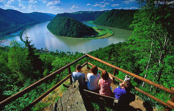 [AUSTRIA.OBER 04194] 'Schlögener Schlinge.'  After cycling, walking is the most popular activity along the Danube. For instance at the Donau-Höhen-Rundwanderweg (Danube Hills Path) between Passau and Linz. Favourite spot for a break is the viewpoint above the rivers's largest loop near Schlögen, nicely called Schlögener Schlinge. Photo Paul Smit.