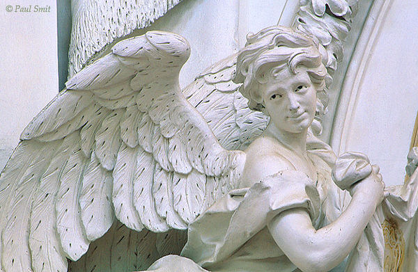 [AUSTRIA.OBER 04225] 'Gaze of an angel.'  High in the basilica of the Augustine St. Florian monastery white plasterwork angels look down on you with black eyes. You cannot help the feeling of being observed. Photo Paul Smit.