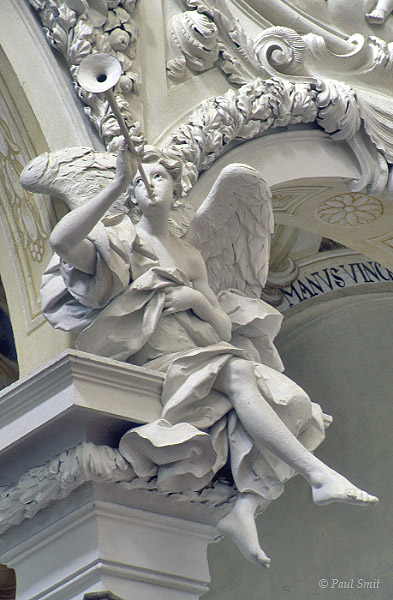 [AUSTRIA.OBER 04231] 'Gaze of an angel.'  High in the basilica of the Augustine St. Florian monastery white plasterwork angels look down on you with black eyes. Photo Paul Smit.