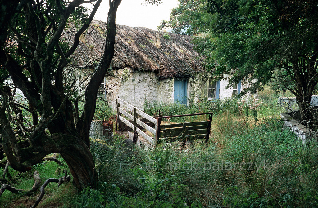 [IRELAND.DONEGAL 21.837] 'Deserted cottage.'  Deserted thatched cottage on the Inishowen peninsula, at the foot of the Urris Hills, west of Drumfree. Photo Mick Palarczyk.