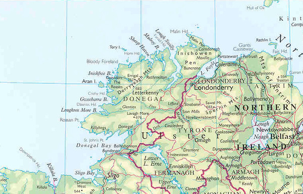 Map of Northwest Ireland  This feature covers the coast of county Donegal (in the Irish Republic) and the coast between Londonderry and Giant's Causeway in Northern Ireland.