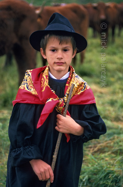 [FRANCE.AUVERGNE 28882] 'Farmhand in Allanche.'  During the transhumance festivities at Allanche a farmhand is dressed in his Sunday-best. Photo Mick Palarczyk.