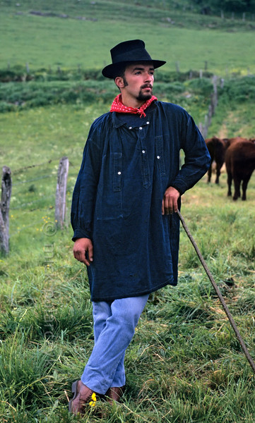 [FRANCE.AUVERGNE 28884] 'Farmhand in Allanche.'  During the transhumance festivities at Allanche a farmhand is dressed in his Sunday-best. Photo Mick Palarczyk.