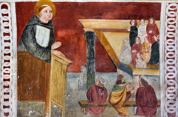 [FRANCE.ALPSSOUTH 29060] 'St. Bernard preaching from pulpit.'  The fifth of six scenes from the life of St. Bernard (923- 1008) in the St. Sebastian chapel of Roure, a village 45 km north of Nice, shows Bernard preaching from a pulpit. The fresco was executed in 1510 by Andrea de Cella, one of the so-called 'peintres primitifs niçois' (primitive painters of Nice). Photo Mick Palarczyk.