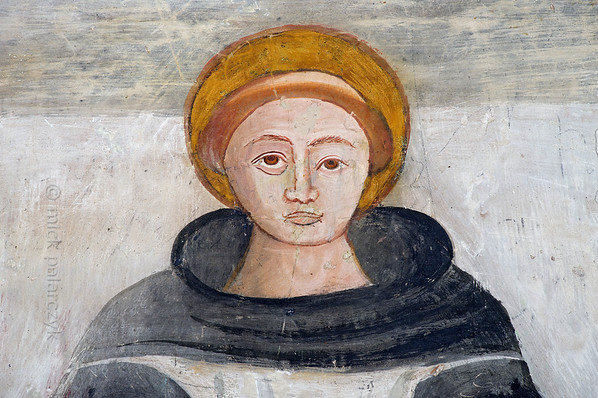 [FRANCE.ALPSSOUTH 29040] 'St. Bernard in Roure.'  The altar wall of the St. Sebastian chapel in Roure, a village 45 km north of Nice, shows a serene portrait St. Bernard. The fresco was executed in 1510 by Andrea de Cella, one of the so-called 'peintres primitifs niçois' (primitive painters of Nice). Photo Mick Palarczyk.