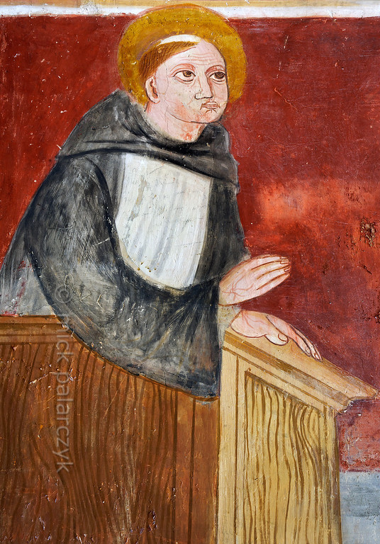 [FRANCE.ALPSSOUTH 29061] 'St. Bernard preaching from pulpit.'  The fifth of six scenes from the life of St. Bernard (923- 1008) in the St. Sebastian chapel of Roure, a village 45 km north of Nice, shows Bernard preaching from a pulpit. The fresco was executed in 1510 by Andrea de Cella, one of the so-called 'peintres primitifs niçois' (primitive painters of Nice). Photo Mick Palarczyk.
