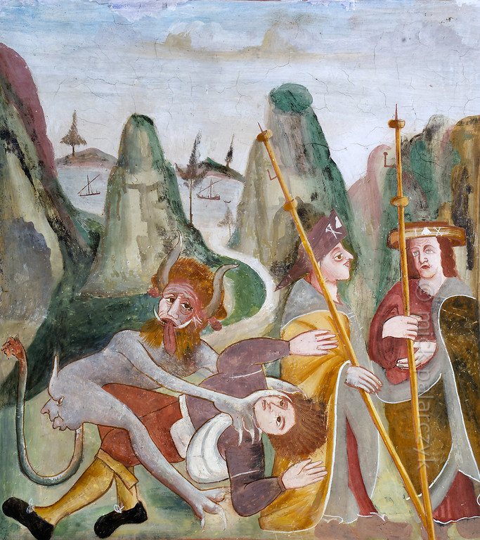 [FRANCE.ALPSSOUTH 29050] 'Devil attacking a pilgrim on Alpine pass.'  The second of six scenes from the life of St. Bernard (923- 1008) in the St. Sebastian chapel of Roure, a village 45 km north of Nice, shows a devil attacking a pilgrim on the Alpine pass near Mont-Joux (Little St. Bernard Pass), while two fellow pilgrims seem strangely indifferent to the mugging. In the background a river can be seen meandering from the pass towards the sea. The fresco was executed in 1510 by Andrea de Cella, one of the so-called 'peintres primitifs niçois' (primitive painters of Nice). Photo Mick Palarczyk.