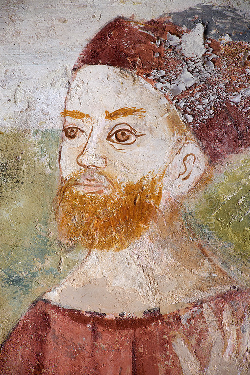 [FRANCE.ALPSSOUTH 29070] 'Emperor Diocletian.'  The fifth of six scenes from the life of St. Sebastian in the St. Sebastian chapel of Roure, a village 45 km north of Nice, shows the Roman Emperor Diocletian. The fresco was executed in 1510 by Andrea de Cella, one of the so-called 'peintres primitifs niçois' (primitive painters of Nice). Photo Mick Palarczyk.