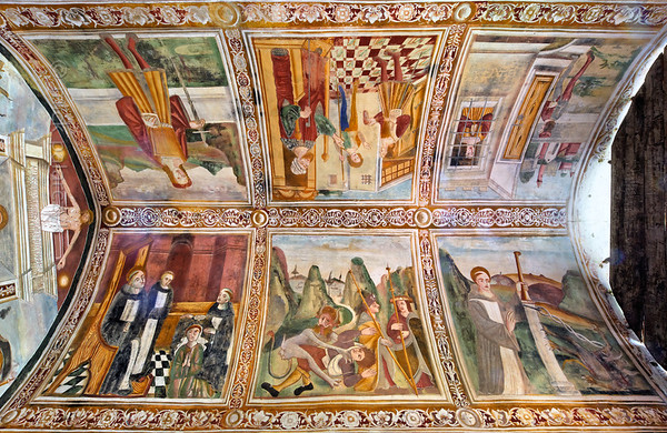 [FRANCE.ALPSSOUTH 29041] 'Ceiling of St. Sebastian chapel in Roure.'  The vaulted ceiling of the St. Sebastian chapel in Roure, a village 45 km north of Nice, shows scenes from the lives of St. Bernard (below) and St. Sebastian (top). The frescos were executed in 1510 by Andrea de Cella, one of the so-called 'peintres primitifs niçois' (primitive painters of Nice). Photo Mick Palarczyk.