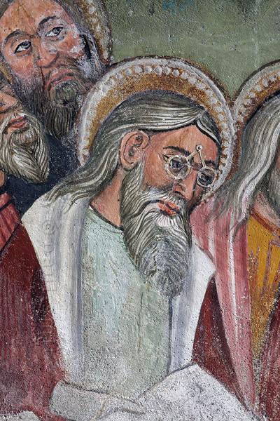 Apostle with scissor-glasses (fresco, Bessans).
