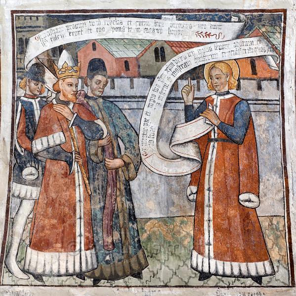 [FRANCE.ALPSSOUTH 29804] 'St. Sebastian and Emperor Diocletian at Venanson.'