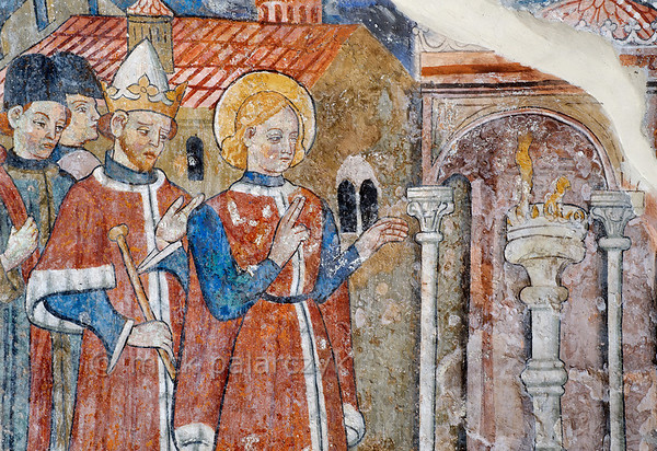[FRANCE.ALPSSOUTH 29806] 'St. Sebastian and Emperor Diocletian at Venanson.'
