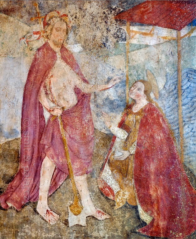 [FRANCE.ALPSSOUTH 29093] 'Jesus and Mary Magdalene.'  The last of twenty panels depicting the Passion of Christ in the Chapelle des Pénitents Blancs at La Tour shows Mary Magdalene recognizing Jesus after his resurrection. The fresco was executed in 1492 on the chapel's right wall by Currand Bravesi and Guirard Nadal, two of the so-called 'peintres primitifs niçois' (primitive painters of Nice). La Tour sur Tinée is a village in the French Alps, 30 km north of Nice. Photo Mick Palarczyk & Paul Smit.