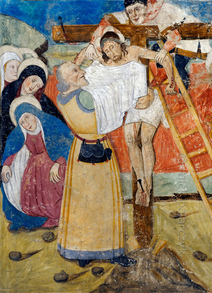 [FRANCE.ALPSSOUTH 29084] 'Deposition of Christ.'  	The fourteenth of twenty panels depicting the Passion of Christ in the Chapelle des Pénitents Blancs at La Tour shows the deposition of Jesus. The fresco was executed in 1492 on the chapel's left wall by Currand Bravesi and Guirard Nadal, two of the so-called 'peintres primitifs niçois' (primitive painters of Nice). La Tour sur Tinée is a village in the French Alps, 30 km north of Nice. Photo Mick Palarczyk.