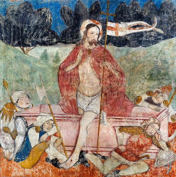 [FRANCE.ALPSSOUTH 29090] 'Resurrection.'  	The seventeenth of twenty panels depicting the Passion of Christ in the Chapelle des Pénitents Blancs at La Tour shows his resurrection, with sleeping Roman soldiers guarding the tomb. The fresco was executed in 1492 on the chapel's right wall by Currand Bravesi and Guirard Nadal, two of the so-called 'peintres primitifs niçois' (primitive painters of Nice). La Tour sur Tinée is a village in the French Alps, 30 km north of Nice. Photo Mick Palarczyk & Paul Smit.