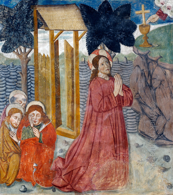 [FRANCE.ALPSSOUTH 29081] 'Garden of Gethsemane.'  	The fourth of twenty panels depicting the Passion of Christ in the Chapelle des Pénitents Blancs at La Tour shows Jesus praying for strength in the Garden of Gethsemane while his disciples are fast asleep. The fresco was executed in 1492 on the chapel's left wall by Currand Bravesi and Guirard Nadal, two of the so-called 'peintres primitifs niçois' (primitive painters of Nice).  La Tour sur Tinée is a village in the French Alps, 30 km north of Nice. Photo Mick Palarczyk.