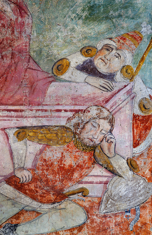 [FRANCE.ALPSSOUTH 29092] 'Sleeping Roman soldiers.'  	The seventeenth of twenty panels depicting the Passion of Christ in the Chapelle des Pénitents Blancs at La Tour shows his resurrection, with sleeping Roman soldiers guarding the tomb (detail). The fresco was executed in 1492 on the chapel's right wall by Currand Bravesi and Guirard Nadal, two of the so-called 'peintres primitifs niçois' (primitive painters of Nice). La Tour sur Tinée is a village in the French Alps, 30 km north of Nice. Photo Mick Palarczyk & Paul Smit.
