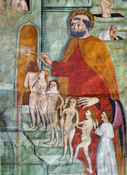 [FRANCE.ALPSSOUTH 29097] 'St. Peter unlocking the gate of heaven.'  The altar wall of the Chapelle des Pénitents Blancs at La Tour shows St. Peter welcoming the virtuous and unlocking the gate of heaven for them. The image is part of a Last Judgment scene that was executed in 1492 by Currand Bravesi and Guirard Nadal, two of the so-called 'peintres primitifs niçois' (primitive painters of Nice). La Tour sur Tinée is a village in the French Alps, 30 km north of Nice. Photo Mick Palarczyk.