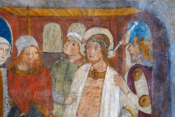 [FRANCE.ALPSSOUTH 29089] 'Jesus before Pontius Pilate.'  	The tenth of twenty panels depicting the Passion of Christ in the Chapelle des Pénitents Blancs at La Tour shows Jesus brought before Pontius Pilate (detail). The fresco was executed in 1492 on the chapel's right wall by Currand Bravesi and Guirard Nadal, two of the so-called 'peintres primitifs niçois' (primitive painters of Nice). La Tour sur Tinée is a village in the French Alps, 30 km north of Nice. Photo Mick Palarczyk.