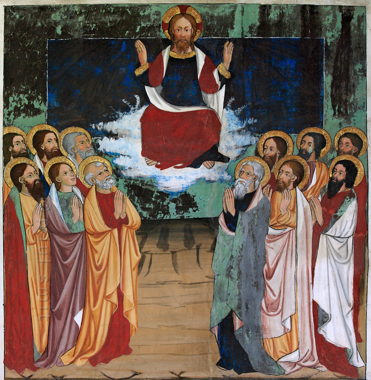 [FRANCE.ALPSNORTH 10978]<br /> 'Ascension of Jesus.'<br /> <br /> Not only do the frescoes in the Chapelle Saint Sébastien in Lanslevillard reach an astonishing high artistic level, the colours have kept their original saturation as well. This most important work of art in the Haute Maurienne has been painted at the end of the 15th century by artists from Piemonte (now in Italy but then in the same country: Savoy). Its location may seem unexpected: a small village deep in the Alps. But the chapel is situated right at the start of the pass road over the Col du Mont Cenis, in those days one of the main connections between France and Italy.<br /> <br /> The fresco shows the ascension of Jesus in his resurrected body in the presence of his apostles, 40 days after the ressurrection. Nearly every fresco in the chapel has this dark blue square in its composition; it adds a 'modern' feeling to this medieval mural. Photo Paul Smit.